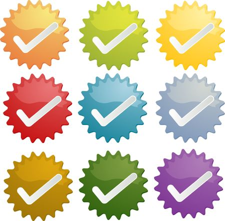 proclamation: Yes checkmark approved emblem seal illustration symbol different colors