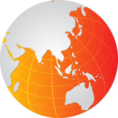 rounded circular: Globe map illustration of the Asia Pacific Stock Photo