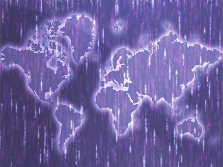 streak: Map of the world illustration, with abstract light streak effects Stock Photo