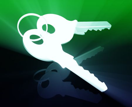 keyring: Keys on keyring security access illustration glowing modern concept