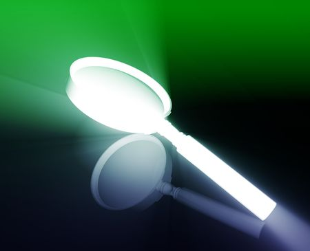zooming: Magnifying glass search tool shiny glowing illustration Stock Photo
