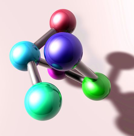 atomic structure: Molecule model molecular atomic structure illustration, glossy chrome