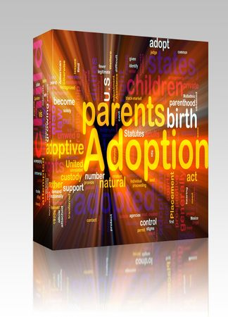 Software package box Word cloud concept illustration of  child adoption glowing light effect Stock Illustration - 6153078