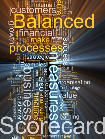 balanced: Word cloud concept illustration of balanced scorecard glowing light effect  Stock Photo