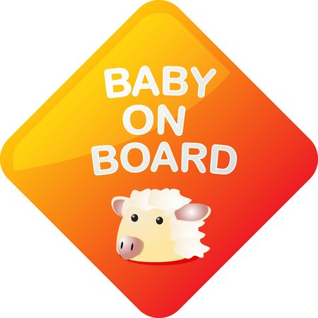sheep warning: Baby on board sticker with sheep, sign illustration
