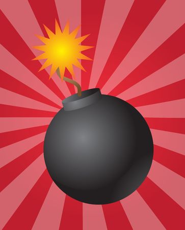 pending: Old fashioned round black bomb with lit fuse