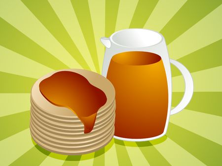 poured: Stack of pancakes, with jug of syrup
