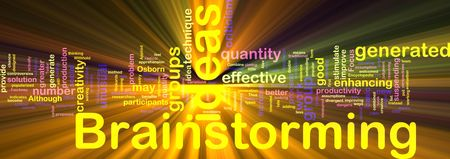 brain storming: Word cloud concept illustration of Brainstorming brain storming glowing light effect