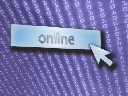 clicking: Online button with clicking mouse icon, digital background