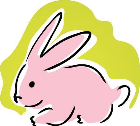Cute retro cartoon illustration of a pink bunny rabbit illustration