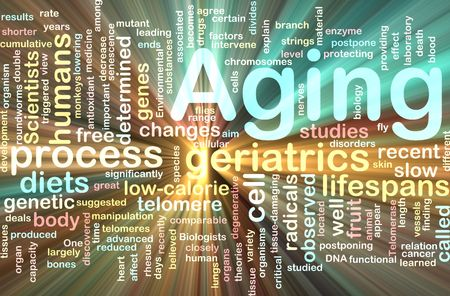 free radicals: Word cloud concept illustration of age aging glowing light effect