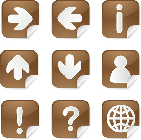 Useful navigation icon set on square stickers photo