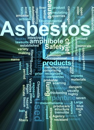 filtering: Word cloud concept illustration of  asbestos hazard glowing light effect