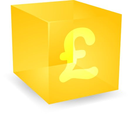 gb pound: GB Pound icon on translucent cube shape illustration