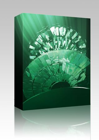 technlogy: Software package box Data information loss and corruption illustration, shattered cd Stock Photo