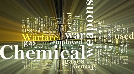 chemical weapons: Word cloud concept illustration of  chemical weapons glowing light effect