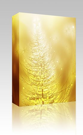 Software package box Sparkly christmas tree, abstract graphic design illlustration photo