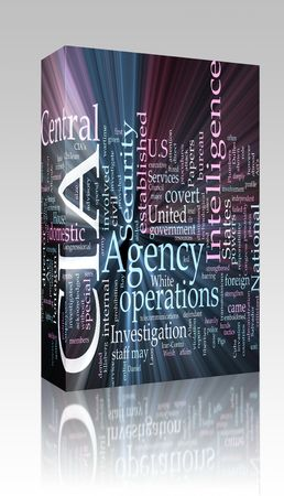 cia: Software package box Word cloud concept illustration of  CIA Central Intelligence Agency glowing light effect