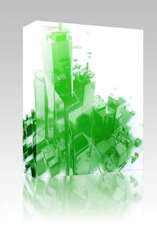 Software package box Abstract generic city with exploding breaking apart illustration illustration