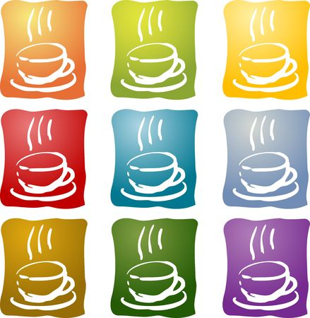 Colorful coffee beverage illustration icon set many different colors illustration
