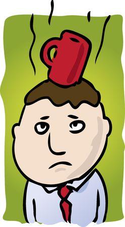 Cartoon illustration of man with coffee on head illustration