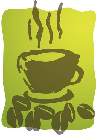 green coffee beans: Illustration of a cup of coffe, rough hand-drawn sketch Stock Photo
