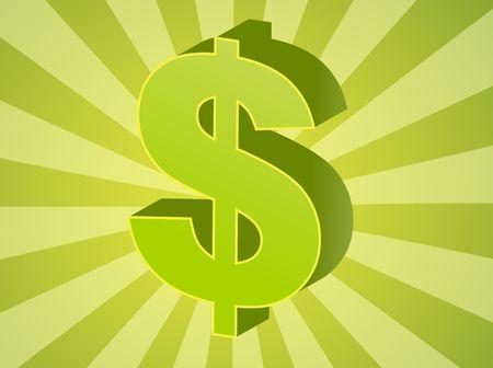 greenback: United States Dollar Currency symbol isometric illustration