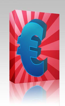 Software package box European Union Euro Currency symbol isometric illustration illustration