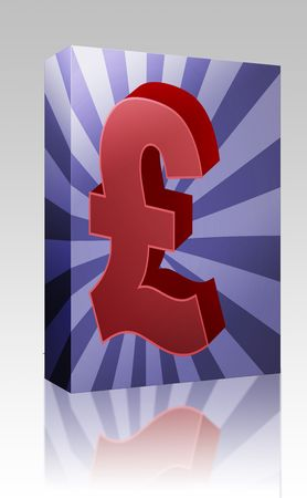 british currency: Software package box British UK Pounds Currency symbol isometric illustration