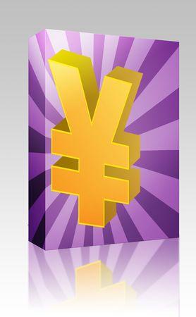 Software package box Yen currency japanese money symbol isometric illustration illustration