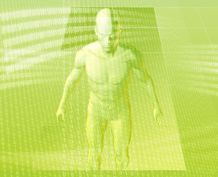 Virual avatar body surrounded by digital information photo