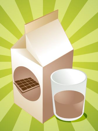 carton de leche: Cart�n de leche chocolatada con ilustraci�n de vidrio lleno