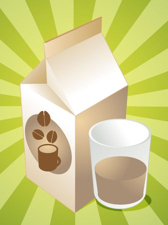 Coffee milk carton with filled glass illustration illustration