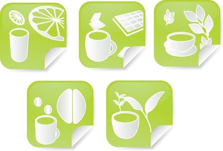 brewed: Set of various beverage icons on square sticker Stock Photo