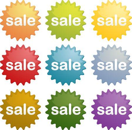 Sale marketing emblem seal illustration symbol many different colors illustration