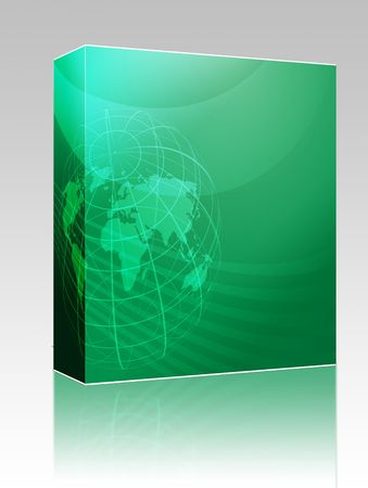 Software package box Map of the world illustration, with globe grid Stock Illustration - 6164417