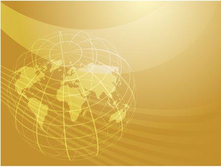 Map of the world illustration, with globe grid Stock Illustration - 6164803