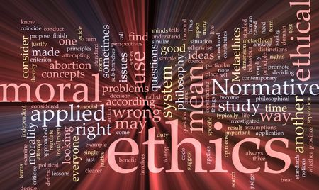 ethical: Word cloud concept illustration of moral ethics glowing light effect