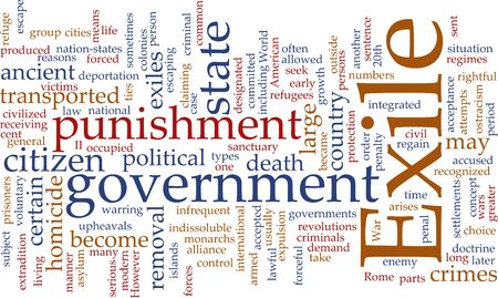 Word cloud concept illustration of exile punishment Stock Illustration - 6164481