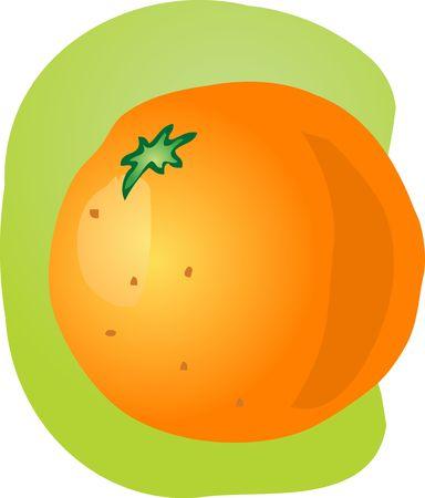 unpeeled: Sketch of whole fresh orange, fruit illustration Stock Photo