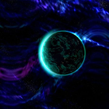 Science fiction planet complex space scene illustration Stock Illustration - 6165116