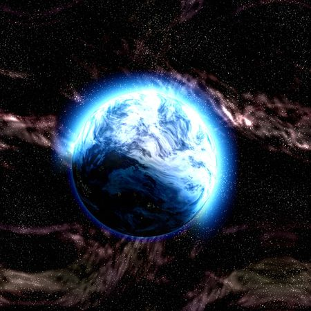 Science fiction planet complex space scene illustration Stock Illustration - 6164965