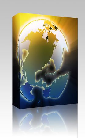 americas: Software package box Globe map illustration of the Americas continents Stock Photo