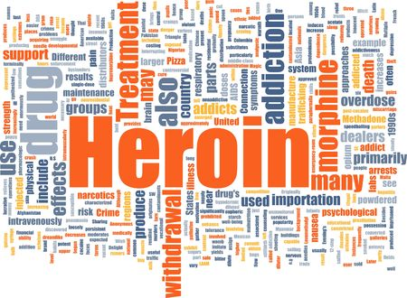trafficking: Word cloud concept illustration of heroin drug Stock Photo