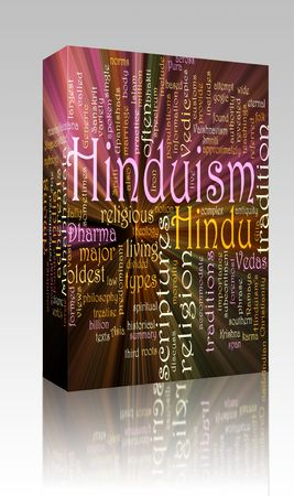 the scriptures: Software package box Word cloud concept illustration of  Hinduism religion glowing light effect