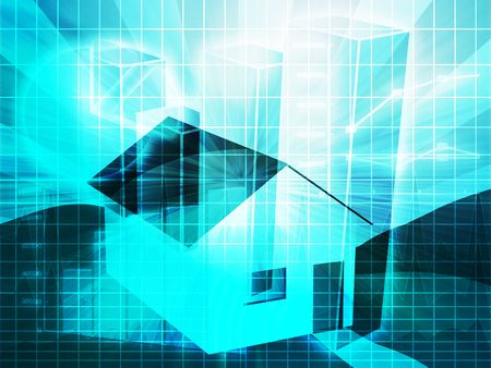 homeowners: Financial charts with house, real estate analysis