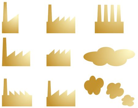 Icon set of factory industry illustration clipart illustration