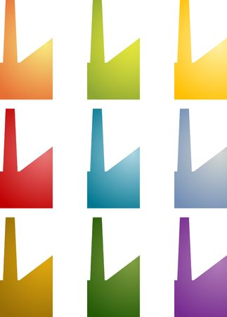 suppliers: Icon multicolored set of factory industry illustration clipart Stock Photo