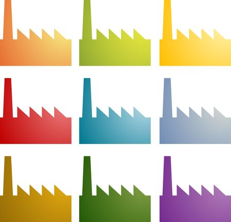 Icon multicolored set of factory industry illustration clipart illustration