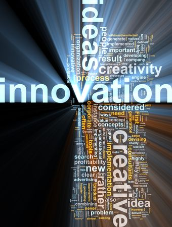 Word cloud concept illustration of innovation creative glowing light effect Stock Illustration - 6165351